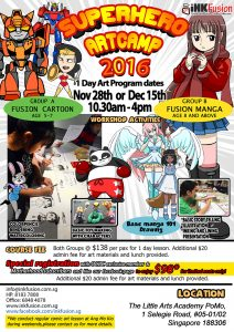 Local manga and cartoon camp for children Singapore, Popular Art lesson for School Holiday